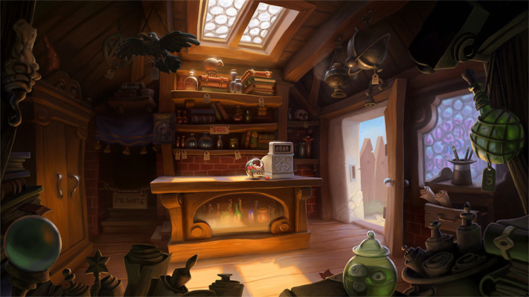 sorceror magic shoppe interior concept
