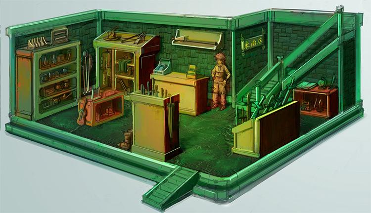 green interior item shop concept