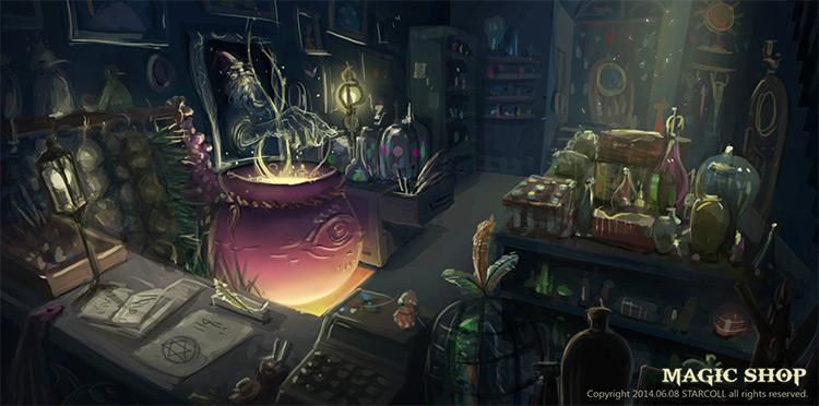 magic shop interior environment art