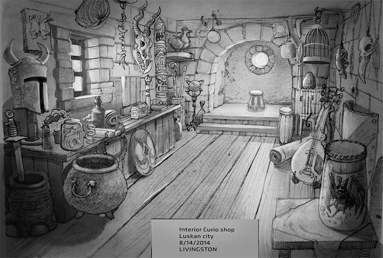 curio shop concept art interior