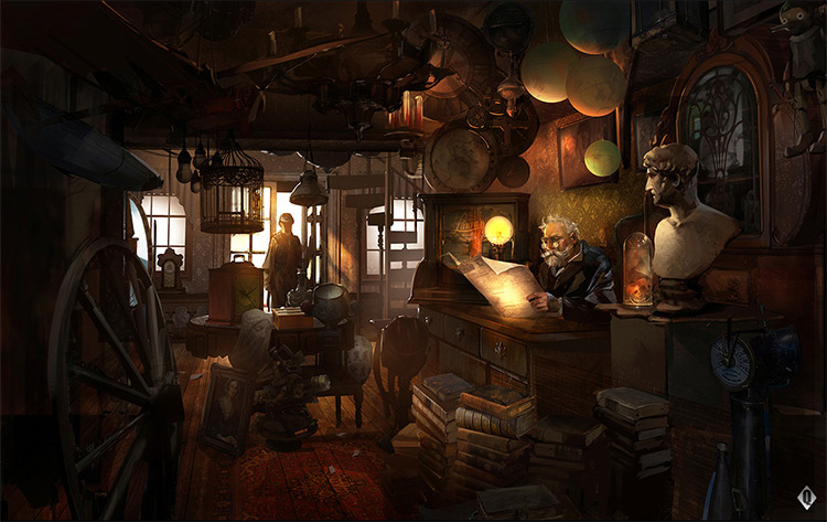 realist concept art painting interior shoppe