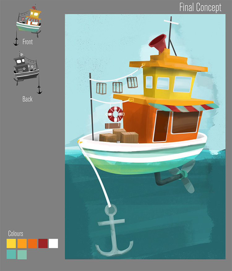 fishing boat shop building concept