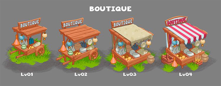 boutique cart concept art prop