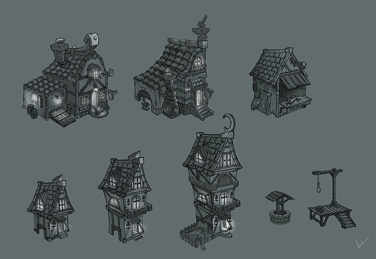 village buildings concepts sketches