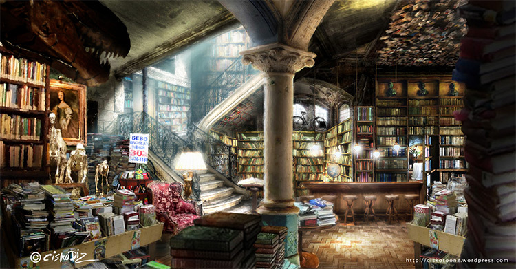 interior book shop concept art