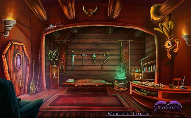 lodge interior wooden concept art