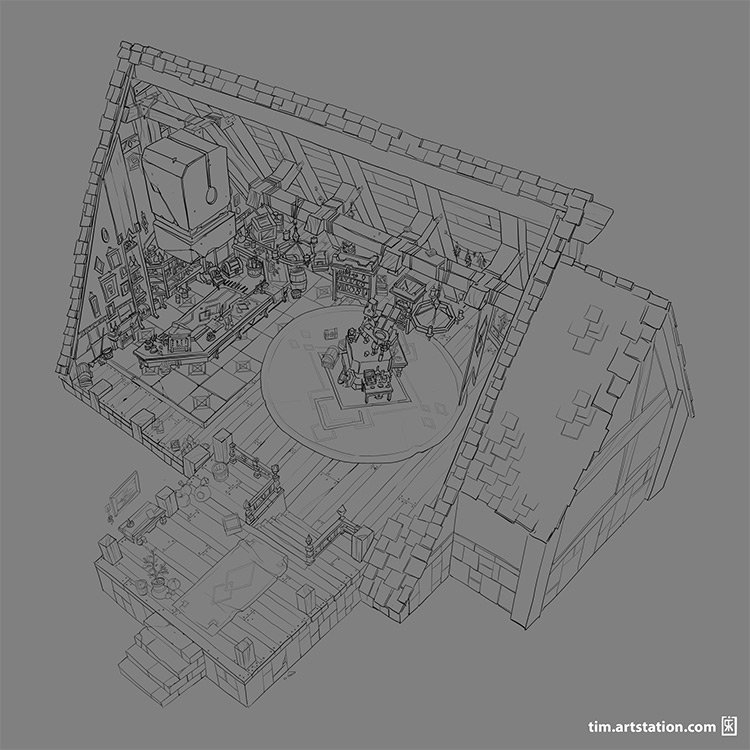 aerial view shop interior seethrough