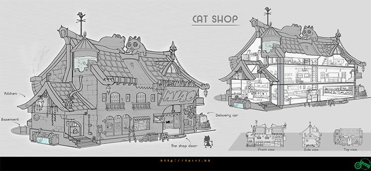 cat designed shop building concept