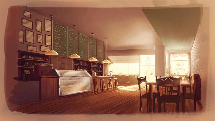coffee shop interior concept art