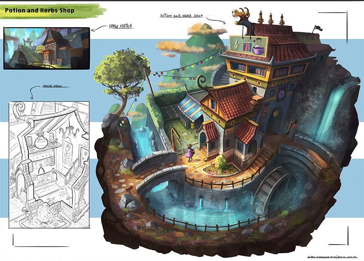 potion shop exterior props concept