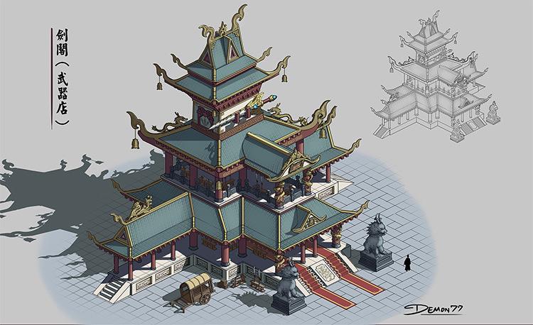 weapons shop concept building