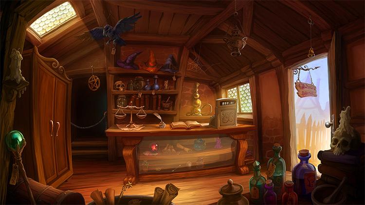 interior magic shop game concept art