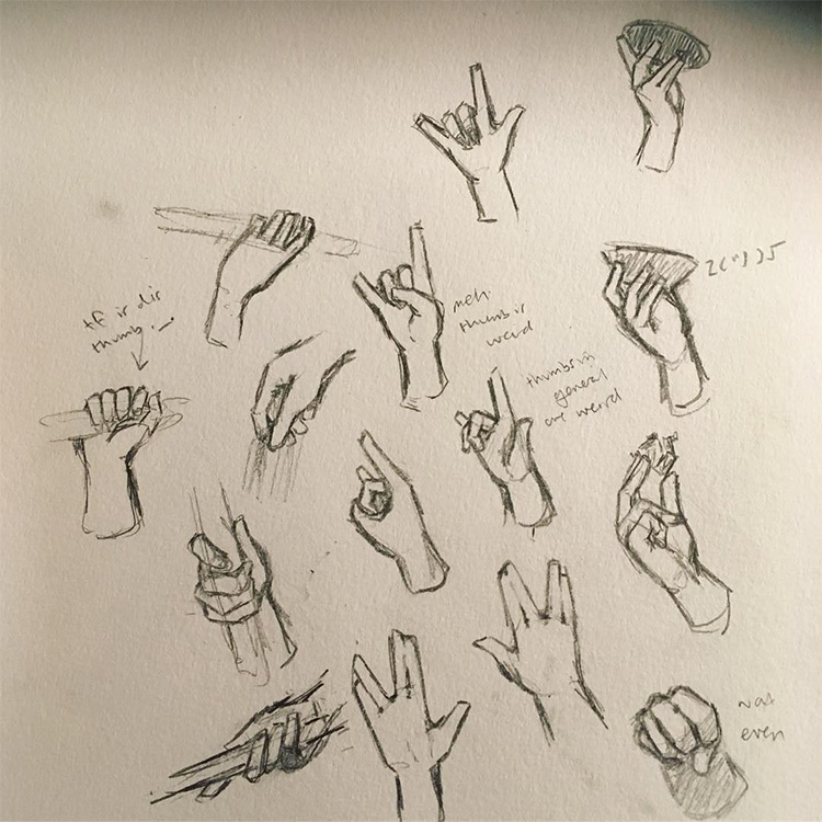 Sketching hand signs and fingers