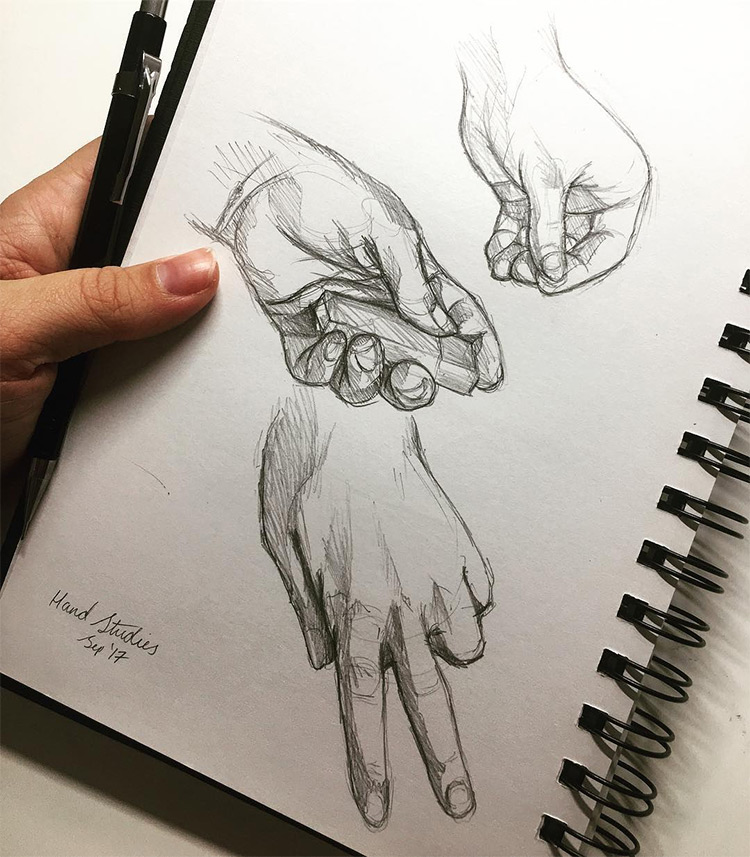 Quick sketch hand drawings