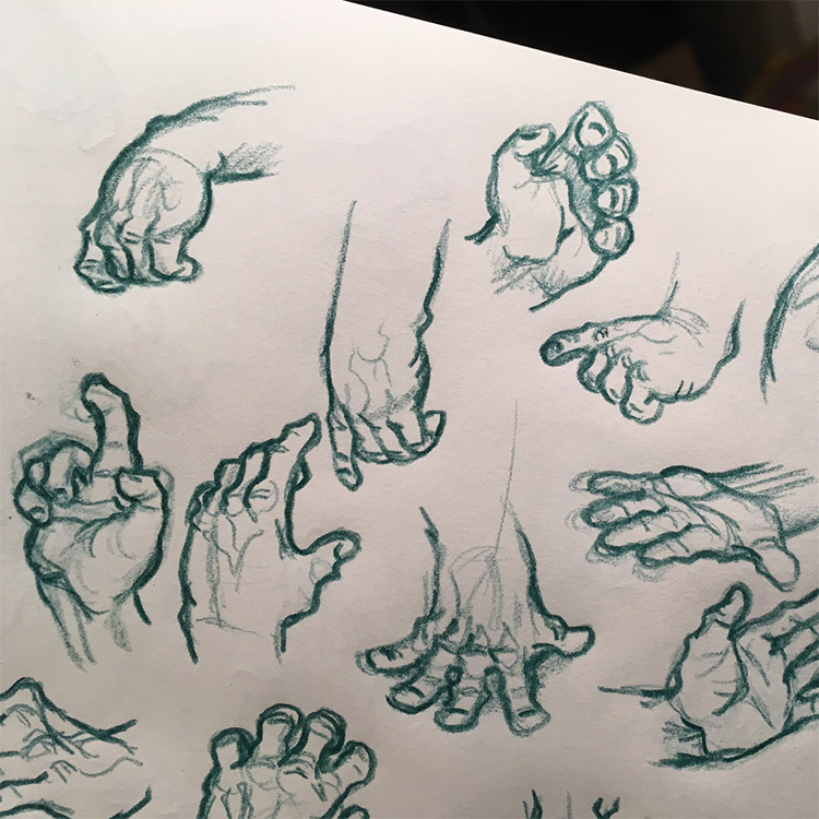 Chubby fingers rough hand drawings