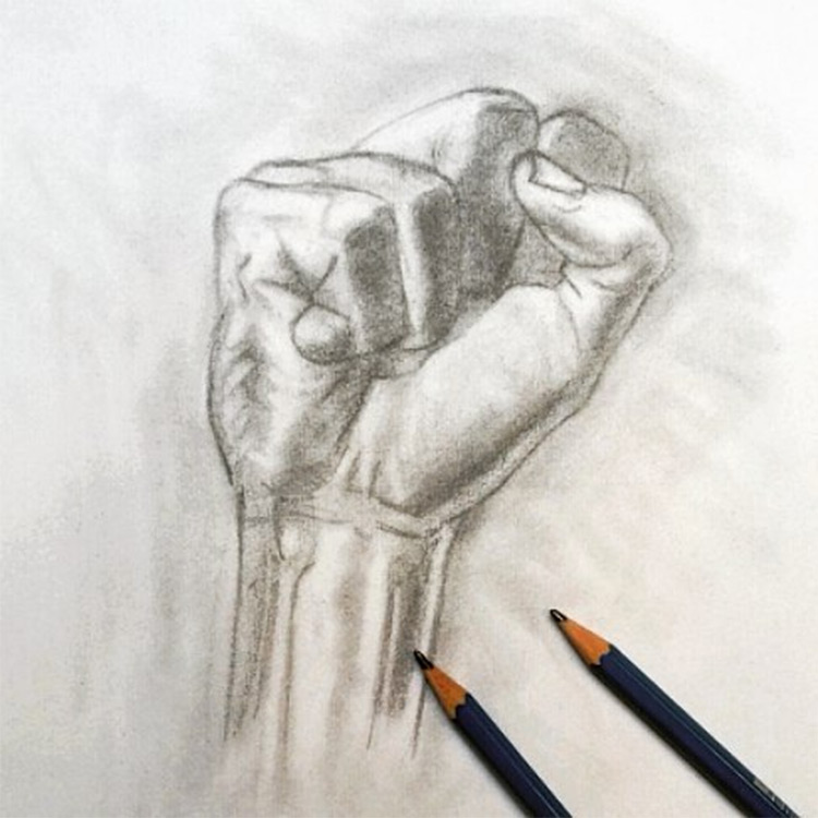 Drawing of a fist