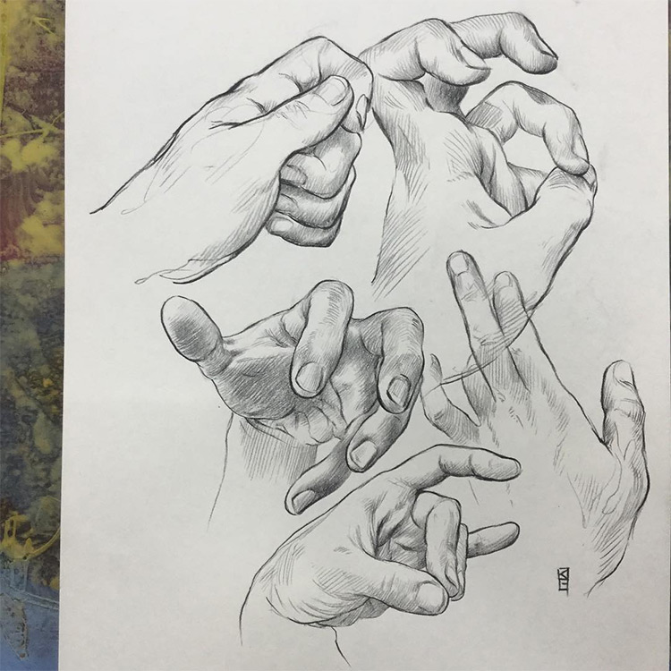 Realist hand drawings with cross hatching