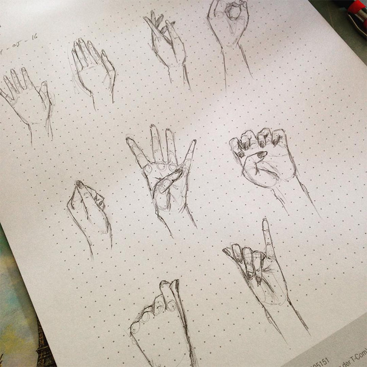 hand drawings on dot grid paper