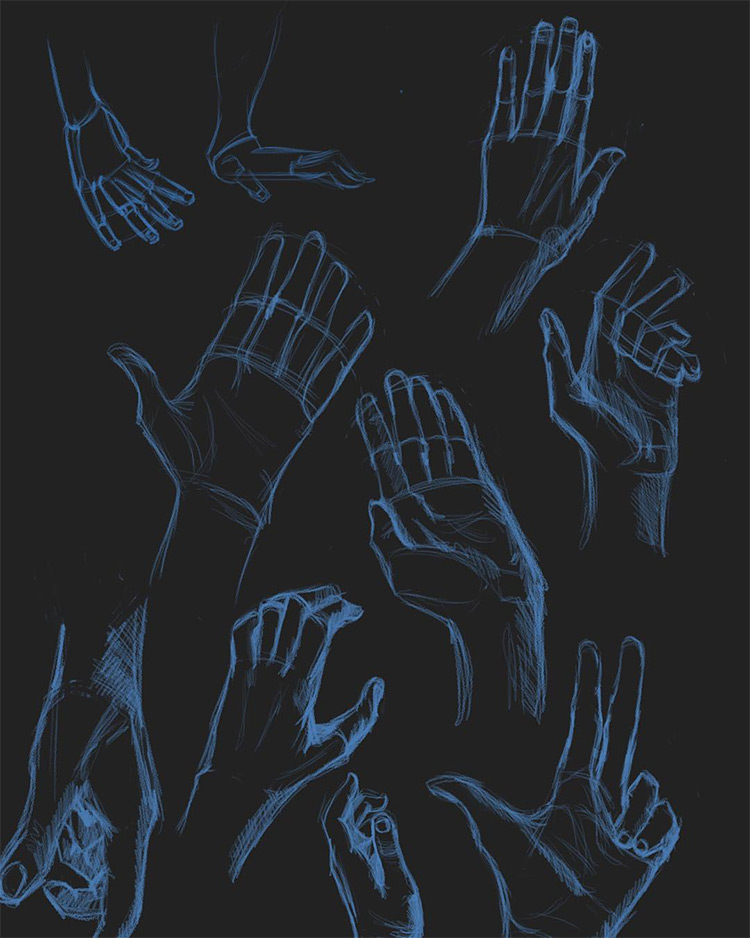 Dark background blue pencil hand drawings