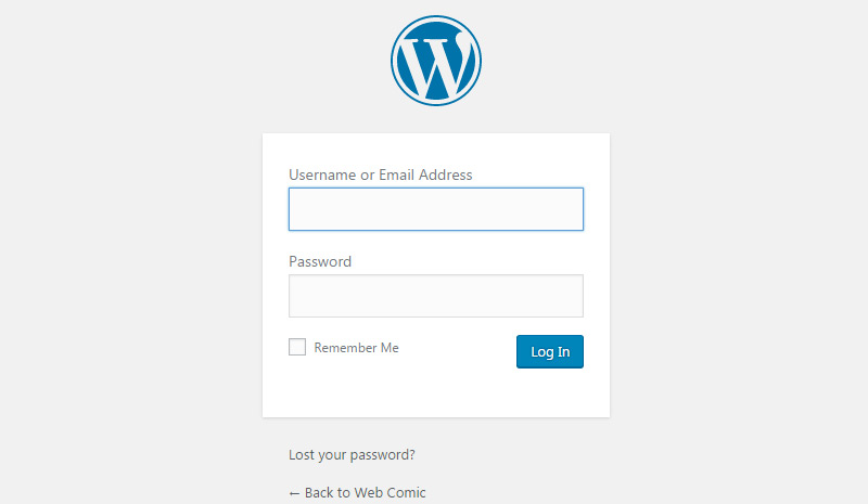 wp login form