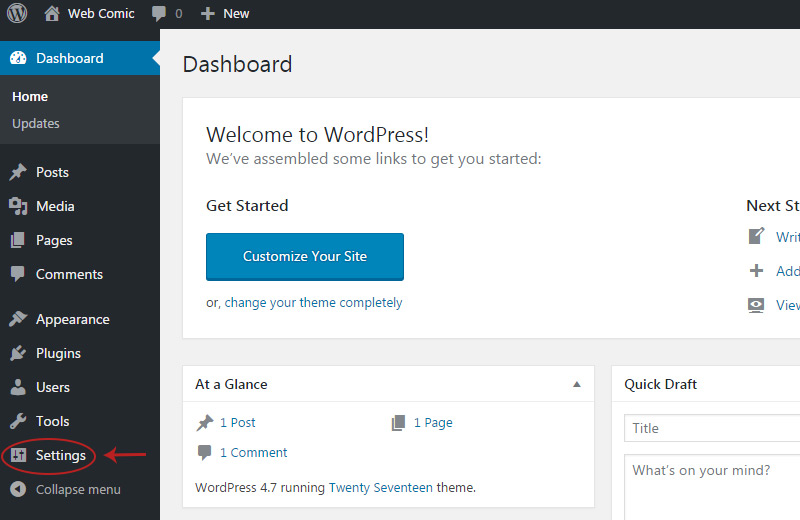 wordpress settings link