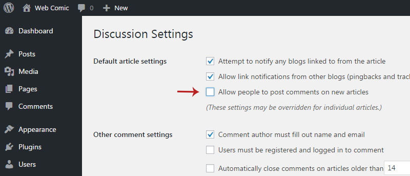 disable comments wp
