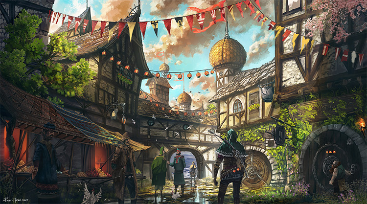 medieval town concept art