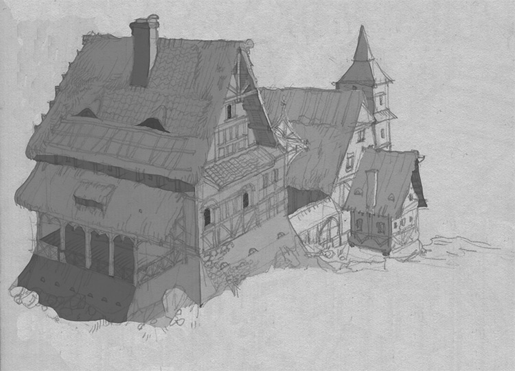 sketch studies medieval architecture