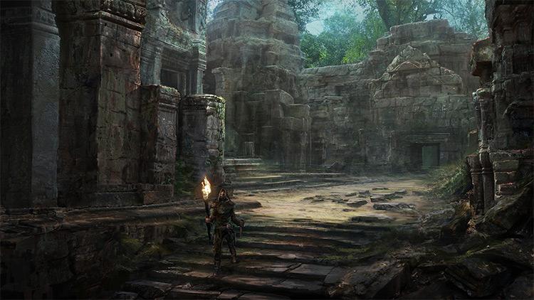 temple ruins interior crypts concept