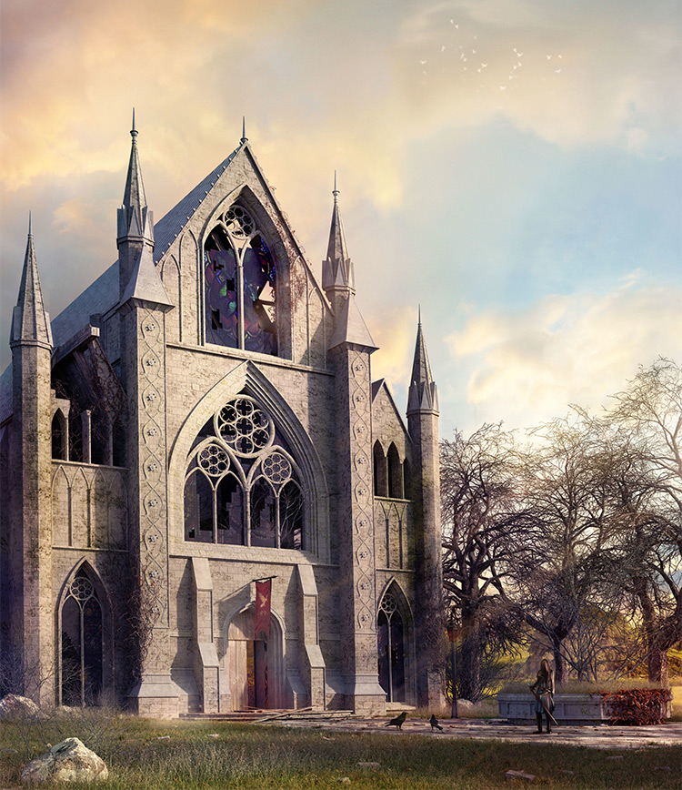 cathedral concept art medieval