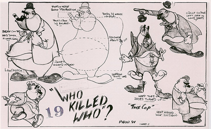 tex avery cop model sheet
