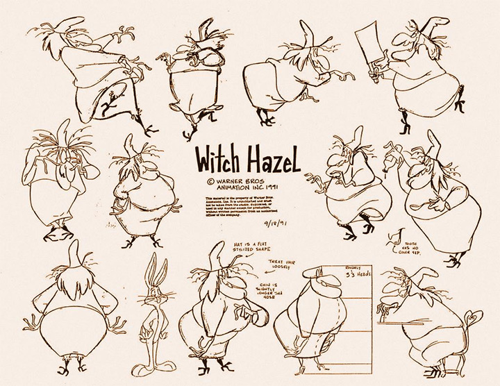bugs bunny witch hazel model sheet