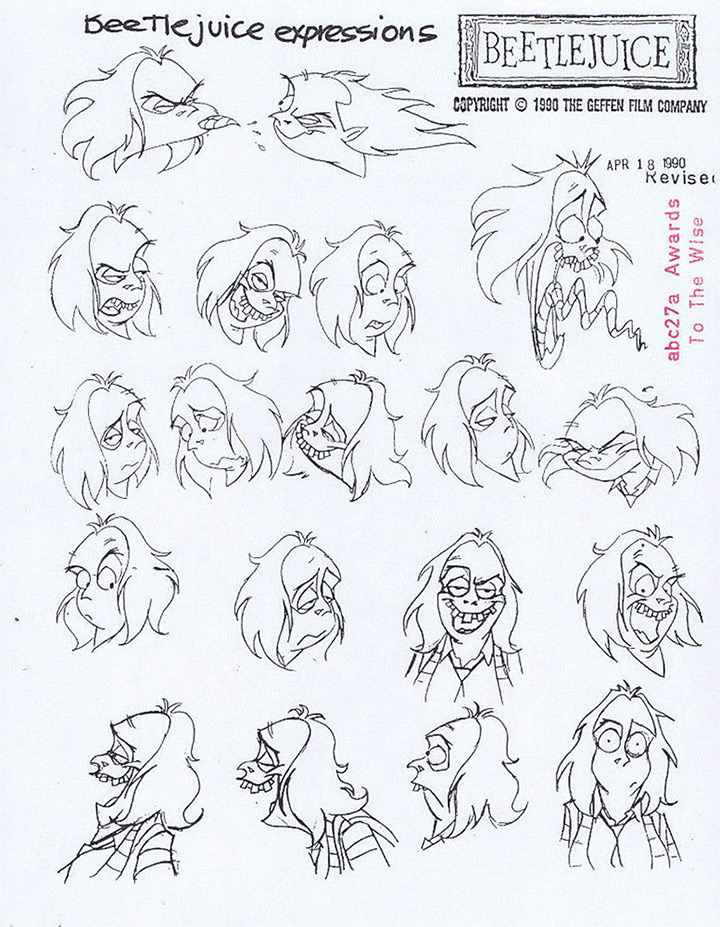 expressions beetle juice model sheet