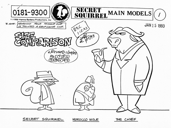 remake secret squirrel 1993 model sheet