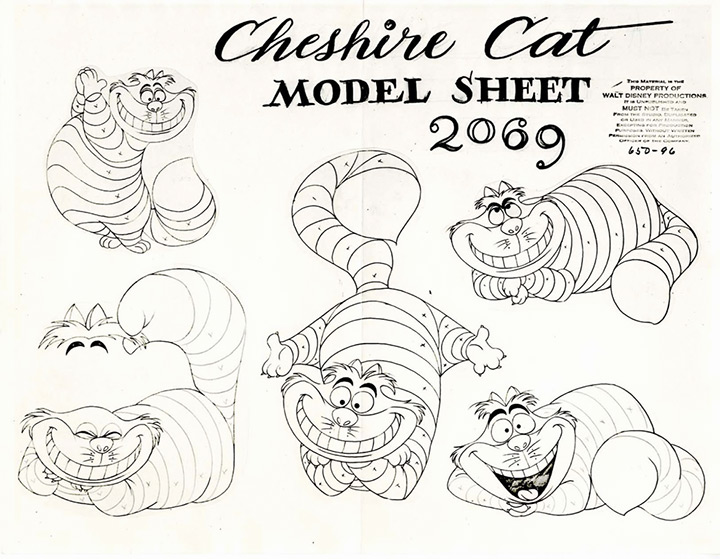 cheshire cat 1950 model sheet