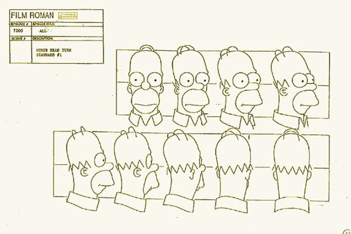 homer simpson model sheet