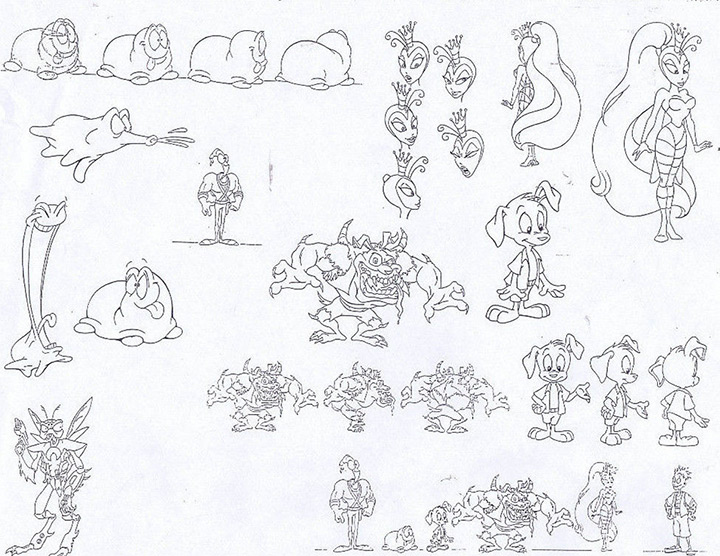 characters from earthworm jim model sheet