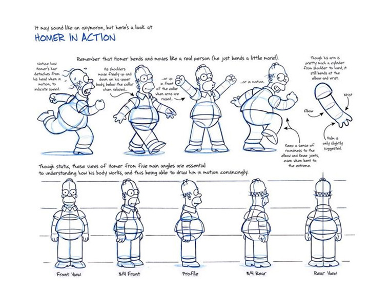 homer simpson poses movie model sheet
