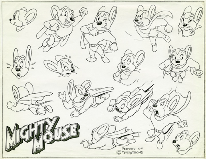mighty mouse model sheet cartoon