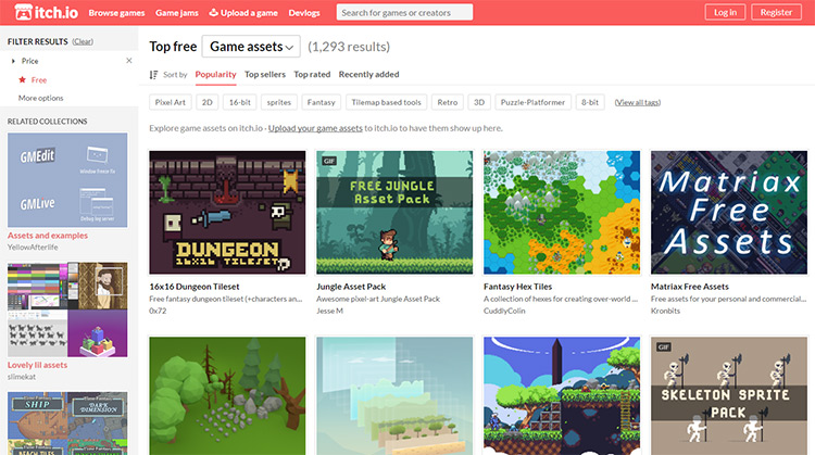 Itch.io homepage for game assets
