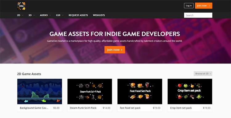 Gamedev Market asset marketplace online