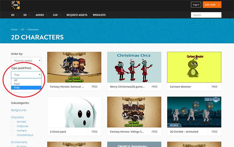 GameDev Market list of free assets