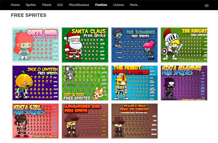GameArt 2D freebies list