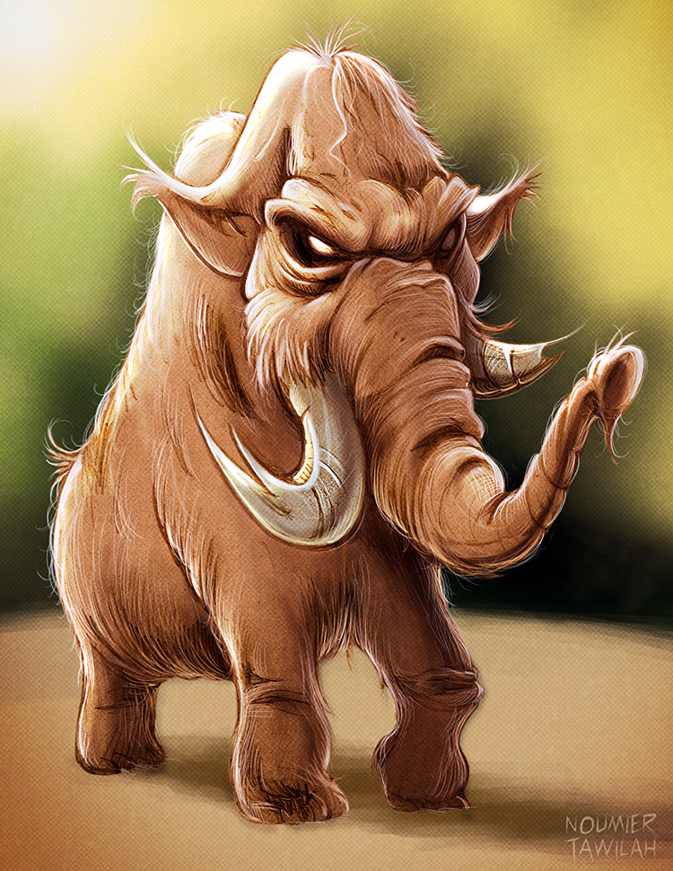 mammoth woolly prehistoric beasts art sketch