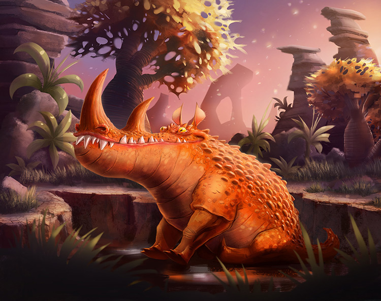 beast dinosaur creature rhino crocodile prehistoric concept art