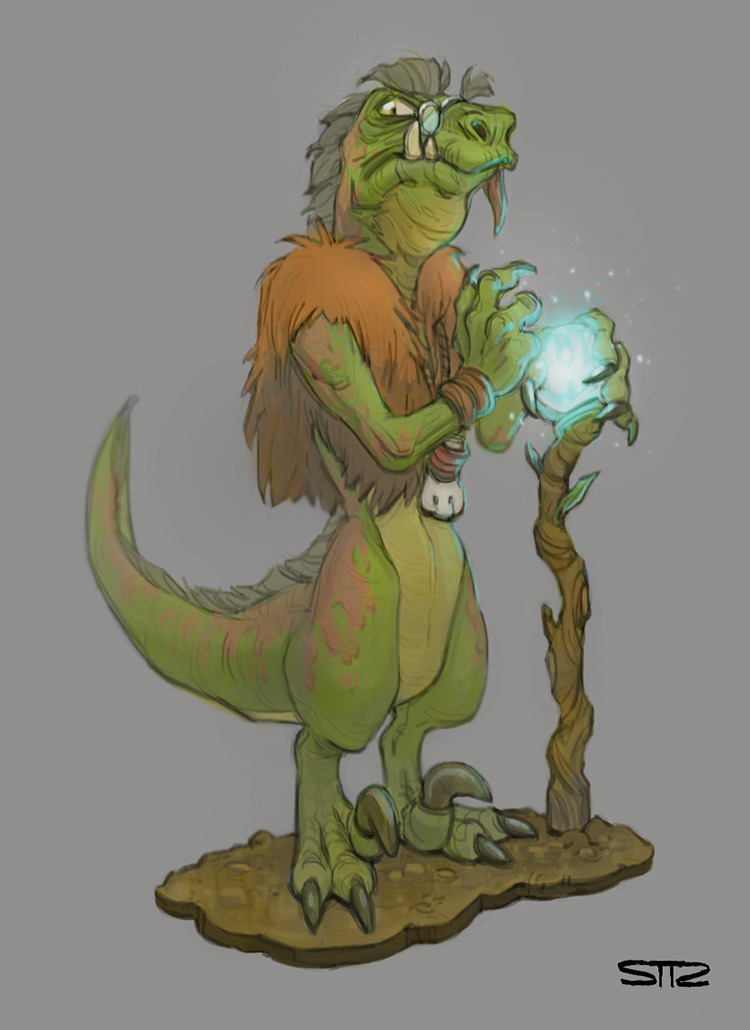 dinosaur druid character art concept illustration