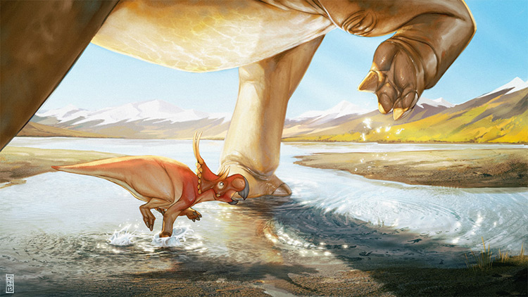 dinosaur child diabloceratop art drawing illustration