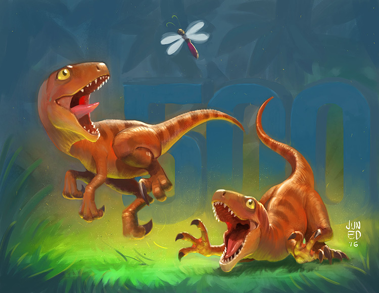 dinosaur raptors baby creature art illustration