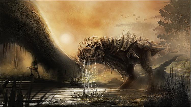 dinosaur creature character sci-fi art concept