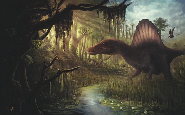 dinosaur creature spinosaur prehistoric art concept